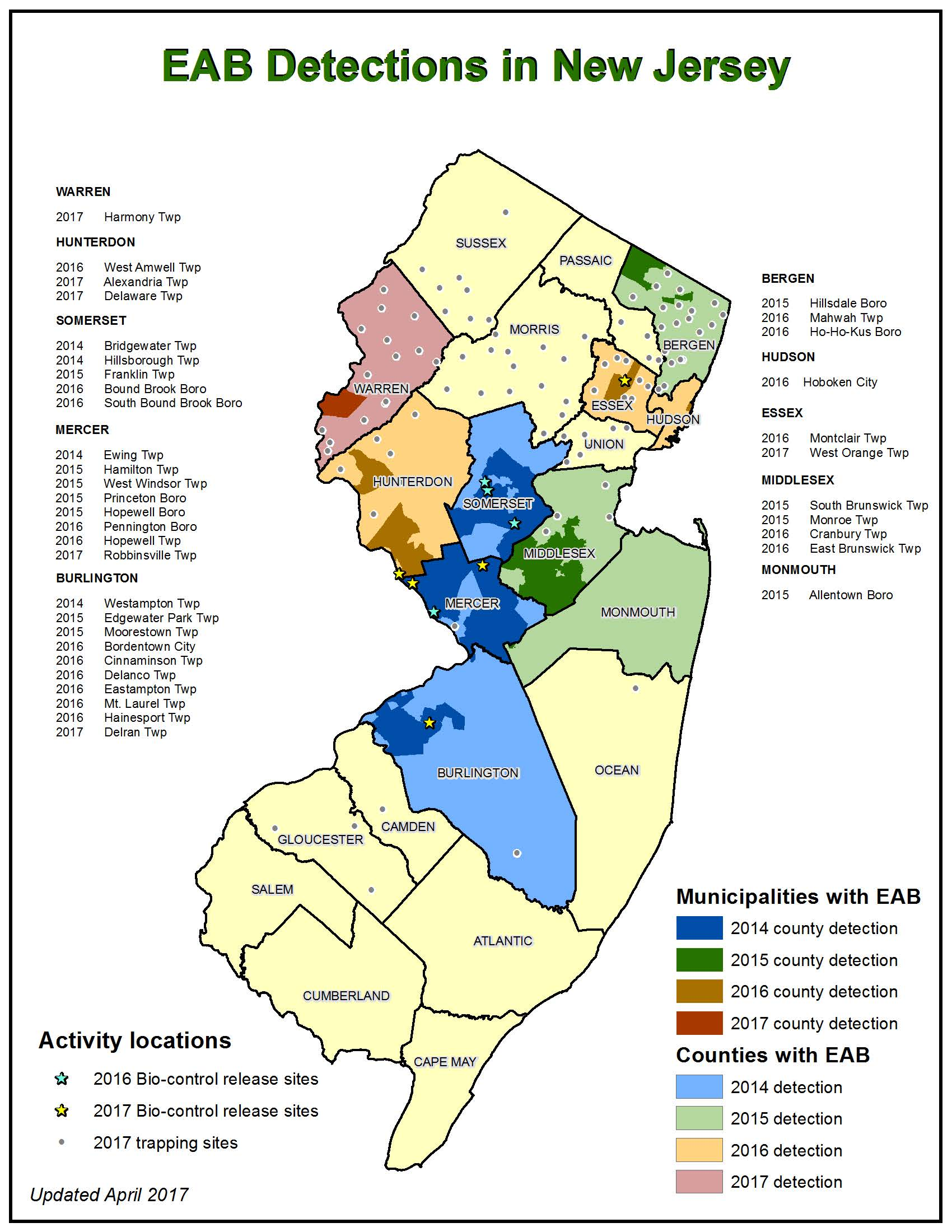 EAB Detections in New Jersey