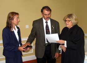 Photo of Jim Giamarese, his wife Sue and Judge Sypek