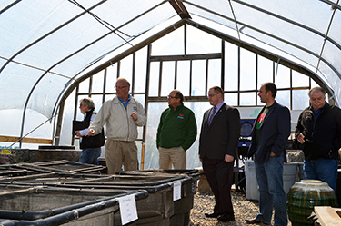 Photo i.d., left to right: Steve Wagner, former State Board of Agriculture member, Dave Scott, owner of Laurel Oak Garden Center, Douglas Fisher, NJ Secretary of Agriculture, Assemblyman Bob Andrzejczak, Dominick Mondi, NJ Nursery and Landscape Association Exec. Dir., Angelo Trapani, State Board of Agriculture member