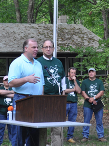 Photo of Senate President Sweeney and Secretary Fisher at the Envirothon
