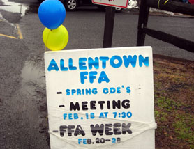 Photo of Allentown FFA Week sign - Click to enlarge