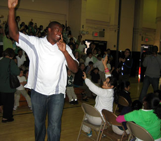 Photo of Brick conducting Eat Right Move More program at PS 25 in Jersey City
