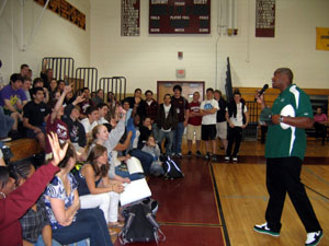 Photo of D'Brickashaw Ferguson of the NY Jets at Summit High School