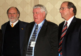 Photo of Governor Corzine, Noble McNaughton and Doug Fisher at the Agriculture Convention - Click to enlarge