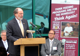 Photo of Governor Corzine and Secretary Fisher at Foodbank of South Jersey - Click to enlarge