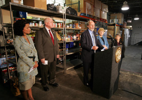 Photo of Commissioner Velez, Secretary Kuperus, Governor Corzine and Kathleen DiChiara of Community FoodBank - Click to enlarge