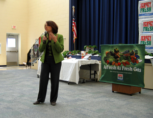 Photo of Diane Holtaway talking about Farm to School Grant project