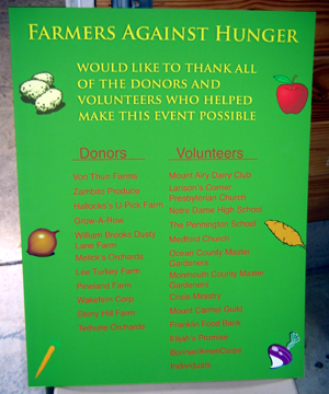 Photo of sign listing all donors and volunteers in Farmers Against Hunger Thanksgiving project