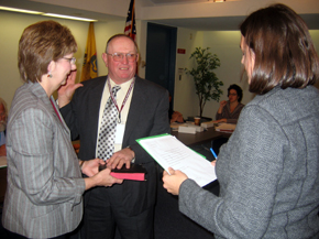 Photo of Henry DuBois being sworn in as a State Board of Agriculture member