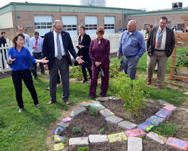 Photo of officials at Salem County Career and Tech HS garden