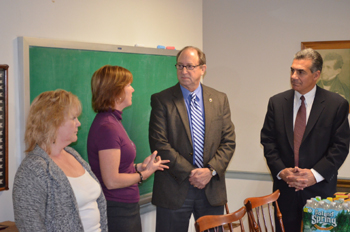 Photo of Donna Michelsen and Colleen Duerr of Family Promise with Secretary Fisher and Assemblyman  Ciattarelli