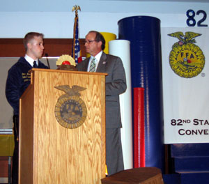 Photo of FFA President Eric Nelson and Secretary Fisher at the 2011 FFA convention