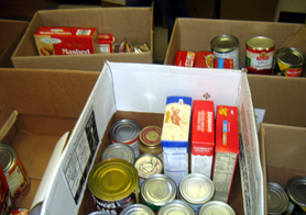 Photo of a box of food at a food pantry - Click to enlarge