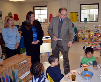 Secretary Fisher visits the head start program during lunch