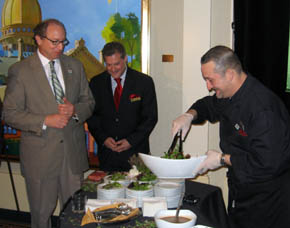 Photo of Secretary Fisher, Jeff Zeiger and Chef Mark Ellis