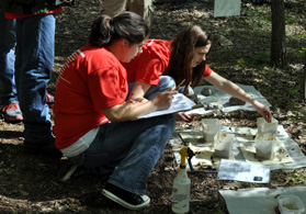 Photo of MATES team at soils station during the Envirothon - Click to enlarge