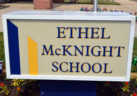 Photo of school sign - Click to enlarge