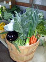 Photo of basket of organic Jersey Fresh vegetables