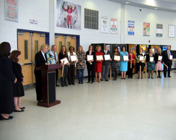 Photo of representatives from the 11 winning Old Bridge elementary schools after receiving their awards