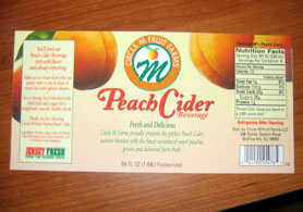 Photo of peach cider label - Click to enlarge