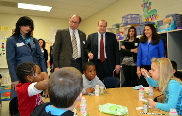 Photo of officials at B. Bernice Young School in Burlington for School Breakfast Week