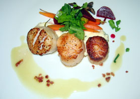 Photo of seared scallop dish - Click to enlarge