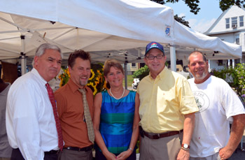 Photo of Secretary Fisher, Jef Buehler, John Sayers and Denise Esposito at the West Orange Farmers Market
