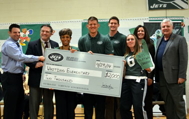 Photo of Whiting Elementary School accepting grant check