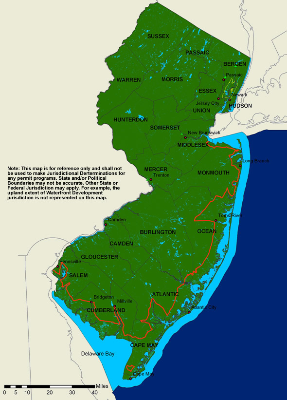 NJDEPCoastal Management ProgramMap Of NJ Coasal Zone - Nj map