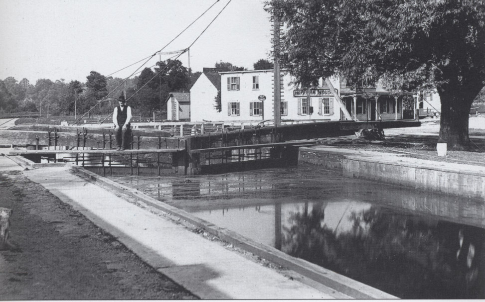 A scene from the Kingston Lock.  The building on the right is the Hoffman House, a popular hotel that was located along the Kings Highway.