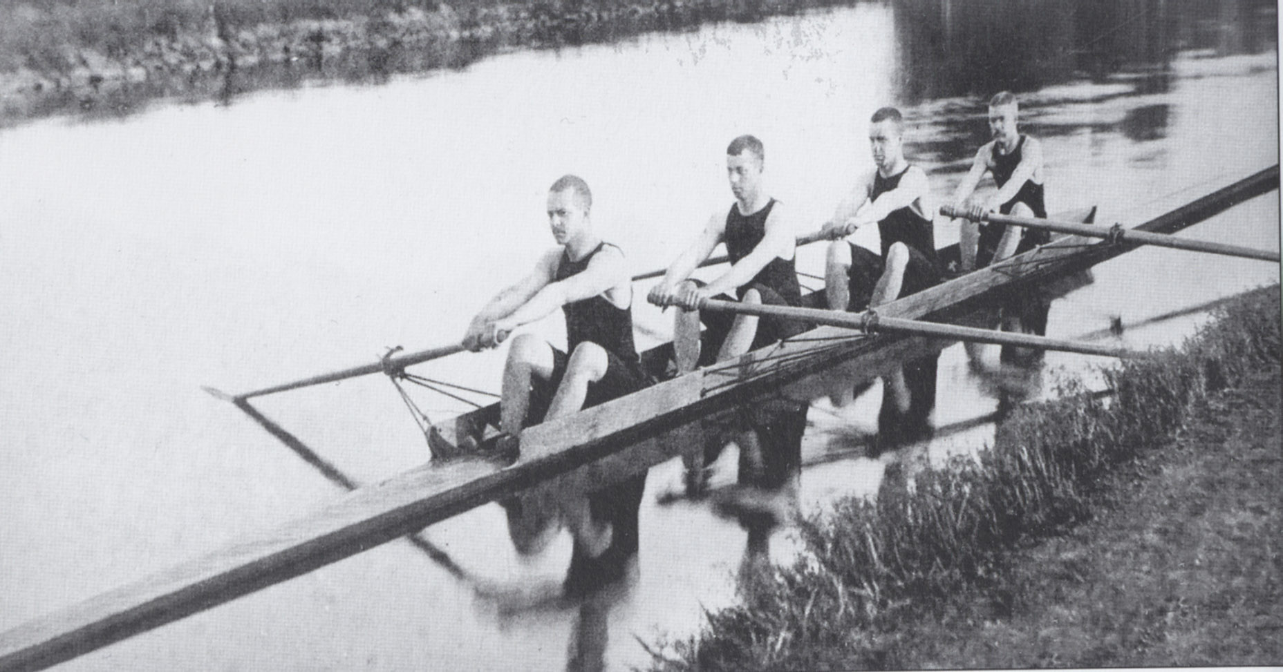 Rowers from Princeton University practicing in the Delaware and Raritan Canal prior to the creation of Lake Carnegie. The team's racing shells were stored in a boat house located immediately north of Bridge No. 15 at Washington Road.  (Photograph reproduced courtesy of the Princeton University Archives)