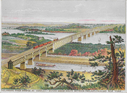 "This colorful 1895 advertisement for the Reading Railroad's New York to Philadelphia ""Bound Brook Route"" depicts a boat and mules on Delaware and Raritan Feeder Canal beneath the Yardleyville Centennial Bridge which spanned the Delaware River between Ewing Township and Lower Makefield, Pennsylvania.  The Whipple Truss Bridge was considered an engineering marvel when it was built in 1875; but unfortunately it was destroyed by a flood in 1904.  The bridge abutments can still be seen in the Delaware River today."