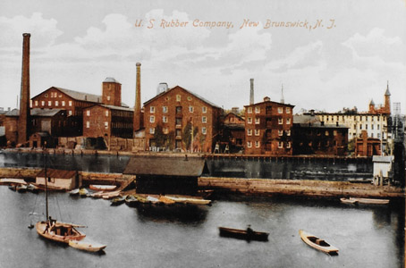Located at the upper tidal and navigation limit of the Raritan River, New Brunswick's factory district fronted upon the Delaware and Raritan Canal downstream of the Deep Lock (Lock No. 13).  In addition to Johnson & Johnson, New Brunswick was also the location of the Janeway & Co. wallpaper factory (reputedly the largest wallpaper factory in the nation), as well as factories which produced rubber goods, hosiery, shoes, carriages and machinery.  Although some historians and writers have commented that the construction of the Delaware and Raritan Canal retarded economic growth by diminishing the importance of the city as a trans-shipment point, the canal did provide the New Brunswick's industries with a source of water power and a steady supply of anthracite coal from Pennsylvania to fuel their businesses.