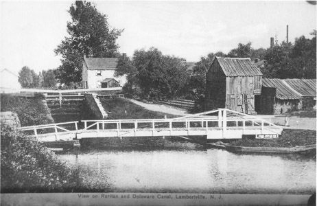 "The construction of the Lambertville Outlet Lock in 1848 linked the Delaware and Raritan Feeder Canal to the Delaware Division Canal in New Hope, Pennsylvania by means of a cable ferry across the Delaware River.  Canal boats carrying coal from the Lehigh Valley could cross the river into New Jersey and proceed downstream for transshipment at the ""Coalport"" in Trenton without first having to Bristol, Pennsylvania, and then upriver to gain access to the Delaware and Raritan Canal at Lock No. 1 in Bordentown.  The Lambertville Outlet Lock and the cable ferry were an important modification to the canal.  By linking the Delaware and Raritan Feeder Canal to the Delaware Division Canal in New Hope, canal boats carrying coal from the Lehigh Valley could cross the river into New Jersey and proceed to Trenton without having to proceed on the Pennsylvania canal south to Bristol, then into the river and up to Bordentown, and then up the seven locks to where the Feeder joined the main canal at Trenton.  The Delaware Canal insisted, however, on charging full tolls to Bristol on those boats which made the transfer at New Hope.  The cable ferry/outlet lock allowed the Feeder Canal to be an avenue of commerce in its own right."