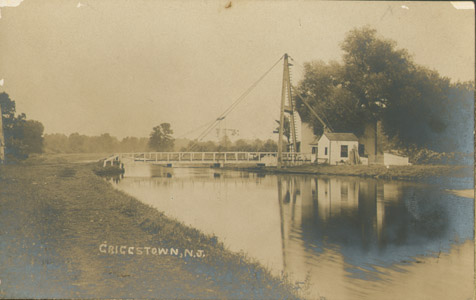 The A-frame swing bridge over the Delaware and Raritan Canal at Griggstown, Somerset County.