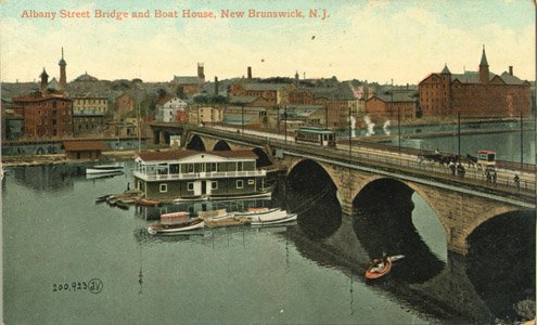 This image depicts the Albany Street Bridge near the northern terminus of the canal in New Brunswick.
