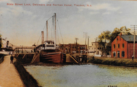 The canalboat F.W. Brune is seen exiting the summit of the canal at the State Street Lock (Lock No. 7) in the City of Trenton and heading south to Bordentown.