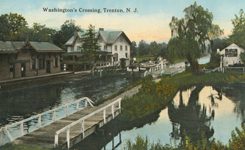 This image shows a portion of the Delaware and Raritan Feeder Canal near present-day Church Road in the historic Titusville neighborhood of Hopewell Township, Mercer County.  Note the Washington's Crossing railroad station of the Belvidere and Delaware Railroad, which ran along the present-day Delaware and Raritan Canal State Park multiuse trail, while the canal towpath was located along the eastern embankment.