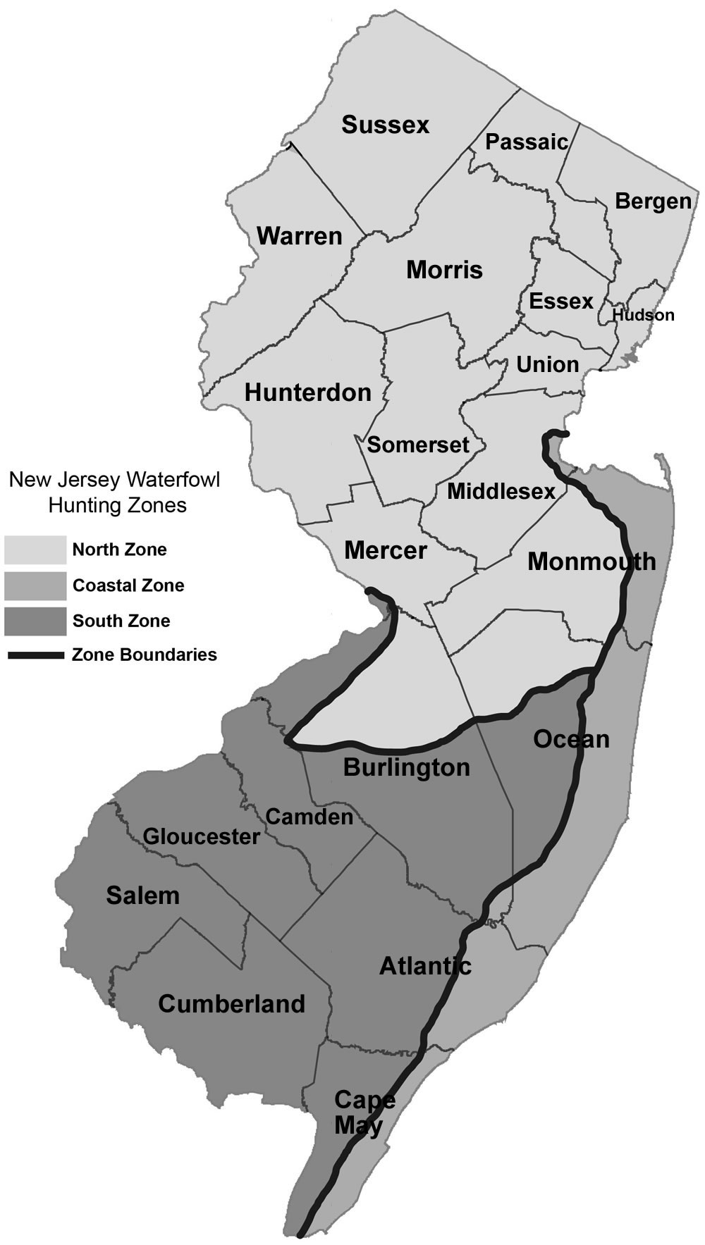 NJDEP Division of Fish & Wildlife - Migratory Bird Hunting Zones and on map of hightstown nj, map of ewing township nj, map of mount vernon nj, map of lawnside nj, map of wood-ridge nj, map of mullica township nj, map of haddon twp nj, map of leonardo nj, map of alexandria nj, map of cliffwood beach nj, map of west long branch nj, map of hudson nj, map of farmington nj, map of lafayette nj, map of cape may courthouse nj, map of stafford twp nj, map of sea island nj, map of pedricktown nj, map of new jersey, map of normandy beach nj,