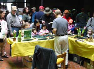 Crowd at display table