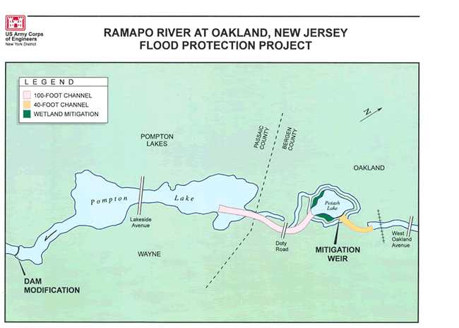 the project consisted of installing two floodgates at pompton lake dam as well as widening and deepening approximately one mile of the ramapo river