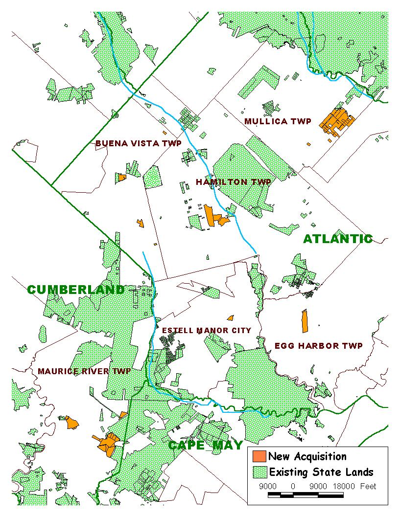 NJDEP Green Acres State Acquisition Success Stories - Us land acquisitions map