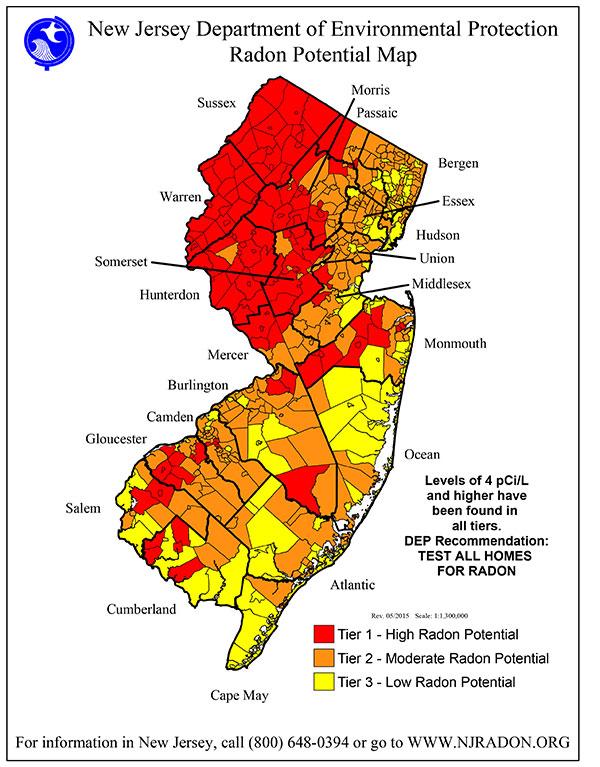 Njdep Bureau Of Environmental Radiation - Radon-map-us