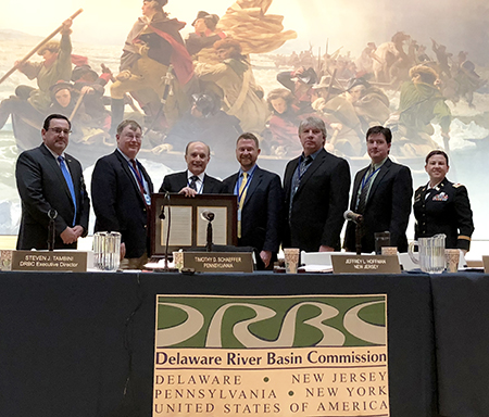 From L to R: DRBC Exec. Director Steve Tambini, Jeff Hoffman (representing N.J.), DRBC's Dr. Tom Fikslin, Tim Schaeffer (rep. Pa.), Ken Kosinski (rep. N.Y.), Bryan Ashby (rep. Del.), and LTC Kristen Dahle (rep. the federal gov't). Photo by DRBC.