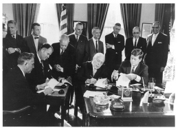 White House ceremonial signing of the Delaware River Basin Compact, Nov. 2, 1961.