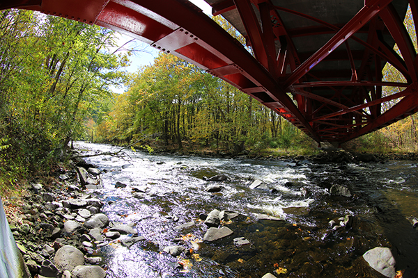 Bridge Between Two Seasons by Kevin Haines, winner of DRBC's Fall 2018 Delaware Basin Photo Contest.