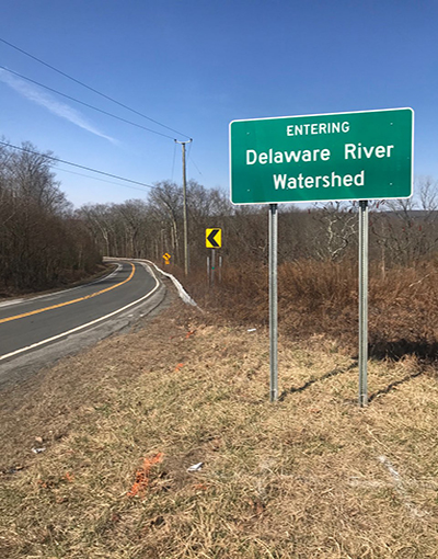 Entering the Delaware River Watershed sign. Photo courtesy of NYSDOT.