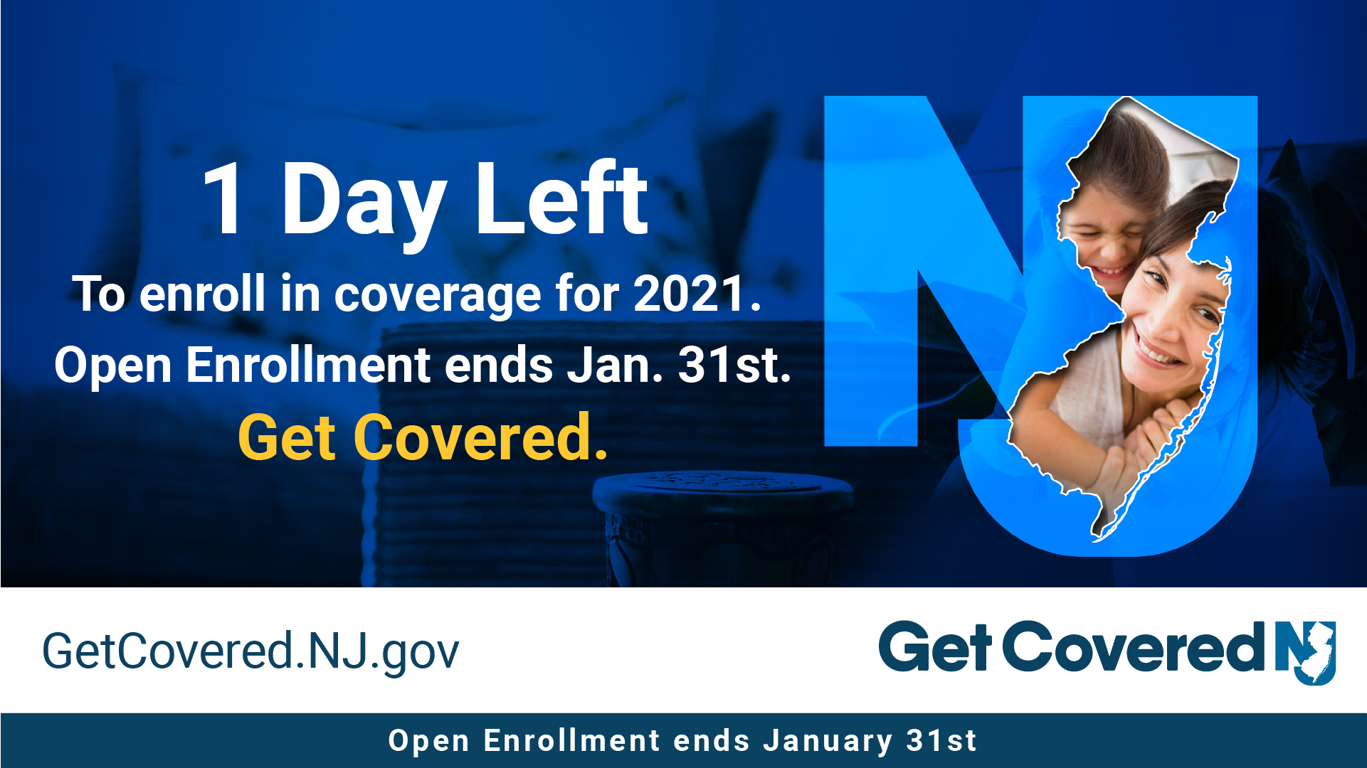 Image Contains screenshot of 1 Day left to enroll in coverage