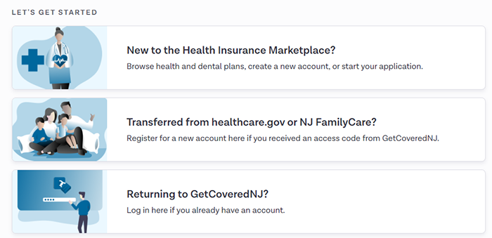 Screenshot: showing where to find Returning to GetCoveredNJ