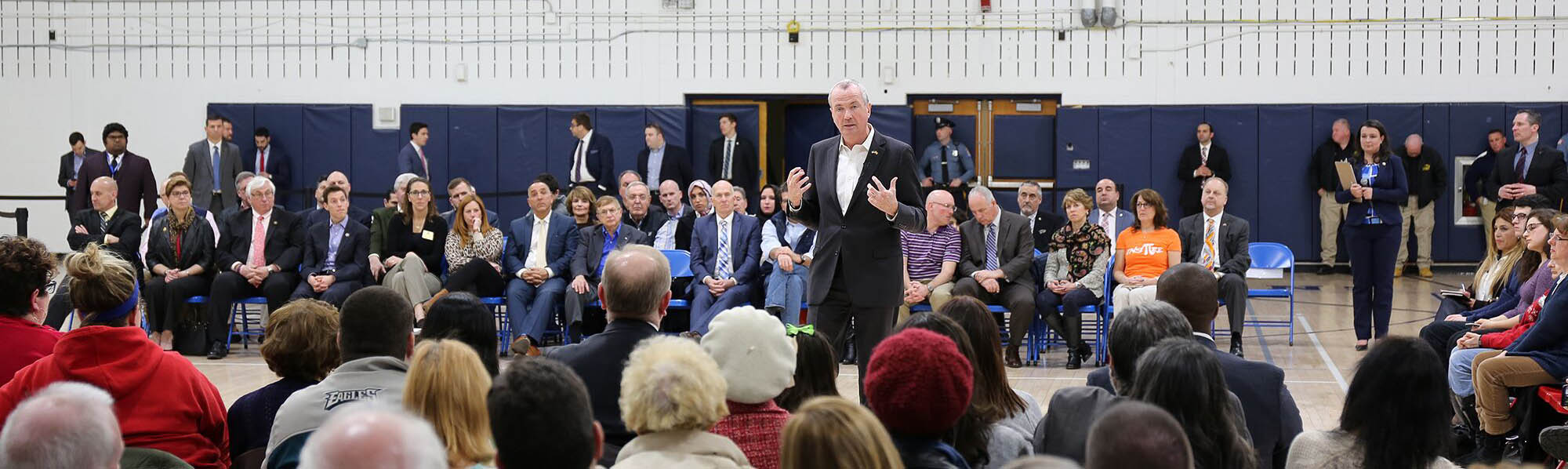 Photo: Phil Murphy speaking at a Town Hall